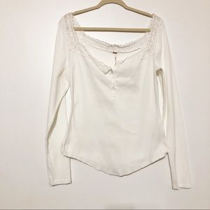 Free people Square Lace Neck Ribbed Henley Top